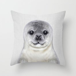 Baby Seal - Colorful Throw Pillow