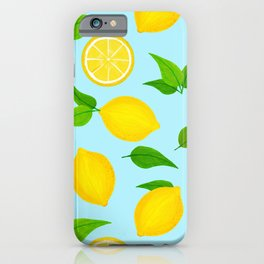 Summer Lemons Pattern - Yellow and Pastel Blue Palette iPhone Case