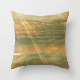 Brown green colored watercolor pattern Throw Pillow