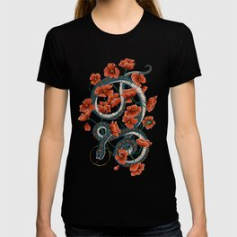 Let Go, Let Grow – Teal Snake in Red Poppies T-shirt