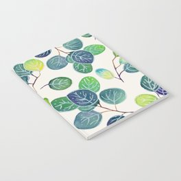 Watercolor eucalyptus white Notebook