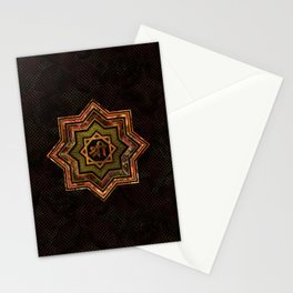 Red Gemstone and gold  Star of Lakshmi -  and Sri Stationery Cards