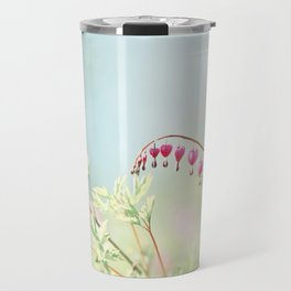 Bleeding Heart Flower Photography, Pink Blue Green Aqua Pastel, Floral Nursery Nature Spring Travel Mug