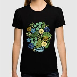 Tropical Blue and Yellow Floral, Light T-shirt