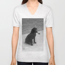 Pipe puffing dog. Unisex V-Neck