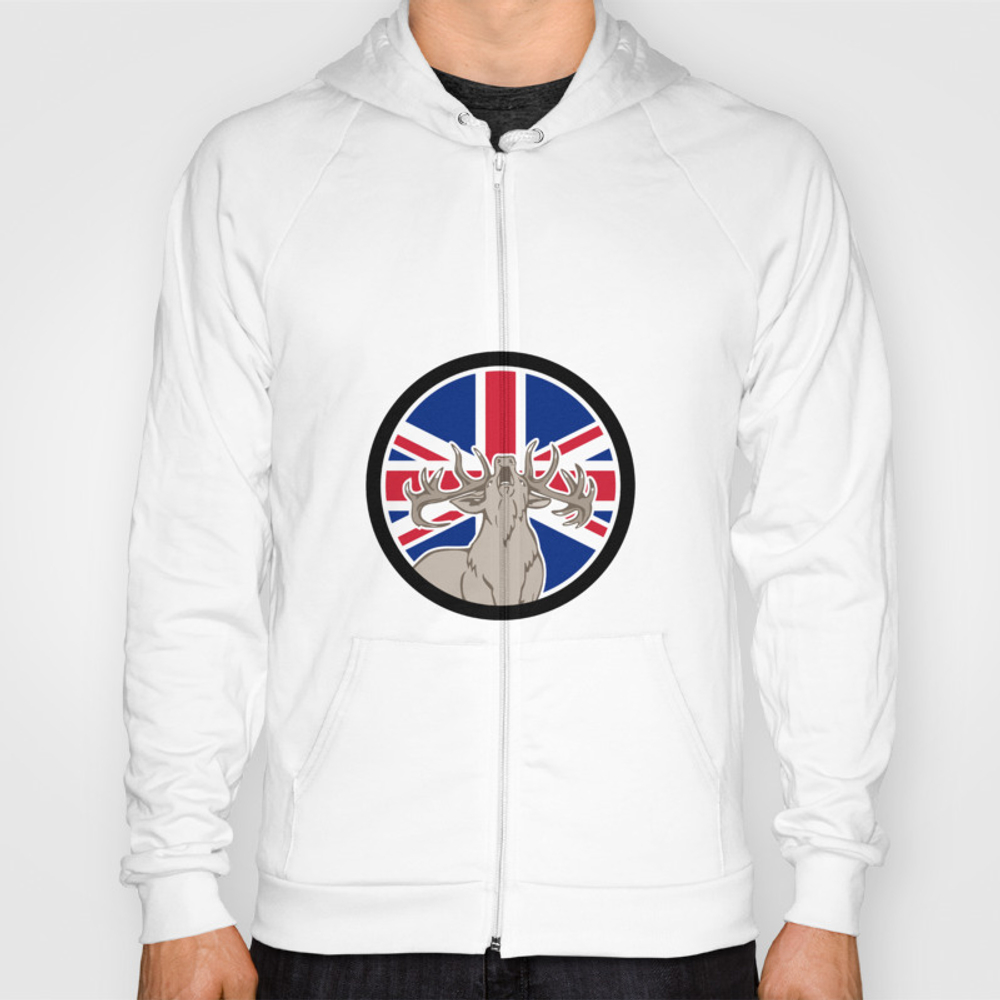 Red Deer Union Jack Flag Icon Hoody by Patrimonio SSR8854915