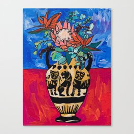 Lions and Tigers Vase with Protea Bouquet Canvas Print
