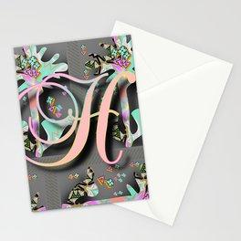 FLORAL MONOGRAM H Stationery Cards