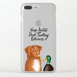 Nova Scotia Duck Trolling Retriever (Blue) Clear iPhone Case