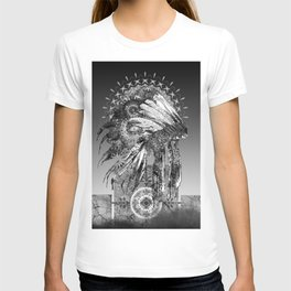 black and white mandala headdress T-shirt
