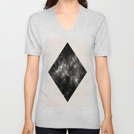 Space Diamond - Abstract, geometric space scene in black and white Unisex V-Neck