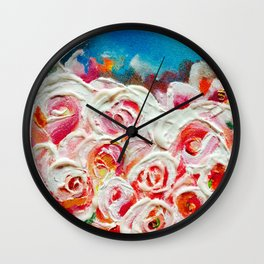 Roses on Fire Wall Clock