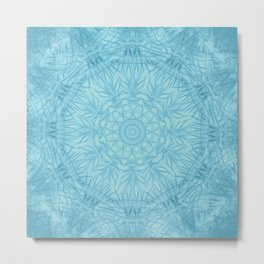Abstract blue thistle mandala Metal Print