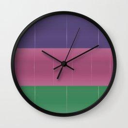 Purple Pink Green Bold Stripes Wall Clock
