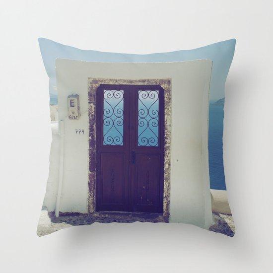 Santorini Door V Throw Pillow
