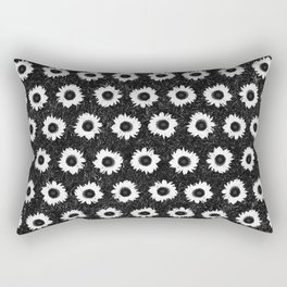 Sunflower Field - Black & White Rectangular Pillow