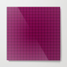 Mini Black and Hot Pink Cowgirl Buffalo Check Metal Print