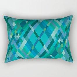 Blue Green Harlequin Pattern Rectangular Pillow