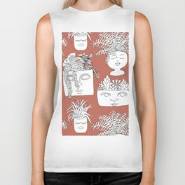 Illustrated Plant Faces in Terracotta Biker Tank