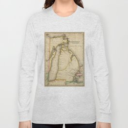 Vintage Map of Michigan (1822) Long Sleeve T-shirt