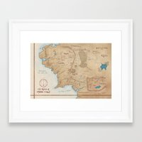 middle earth Framed Art Prints featuring Map of Middle Earth by Kaz Palladino