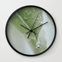 Leaf With Raindrop Photo | Close-up Nature Photography | Atmospheric Raindrop Wall Clock