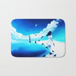 The Girl Walking And The Lighthouse Bath Mat