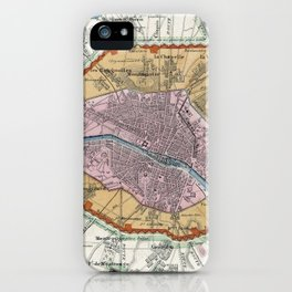 Vintage Map of Paris Fortifications (1841) iPhone Case
