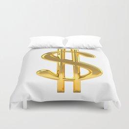 Gold Dollar Sign on White Duvet Cover