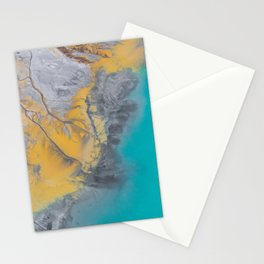 Turquoise And Gold Sea Scape Marble Stationery Cards