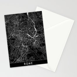 Rome Black Map Stationery Cards