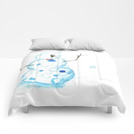 Snowman in a Snowball Fight! Comforters