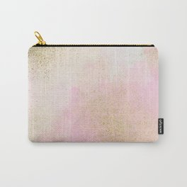 Pretty In Pink And Gold Delicate Abstract Painting Carry-All Pouch