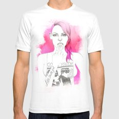 Little Trouble Girl MEDIUM White Mens Fitted Tee