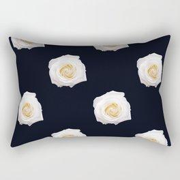 White Flower Pattern Rectangular Pillow