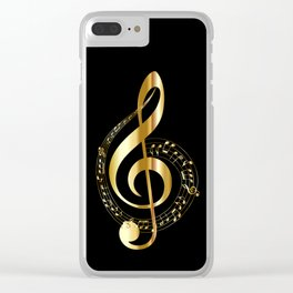 Treble clef surrounded by melody Clear iPhone Case