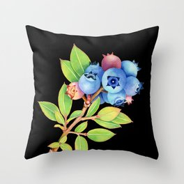 Wild Maine Blueberries Throw Pillow