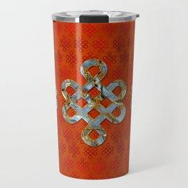 Decorative Marble and Gold Endless Knot symbol Travel Mug