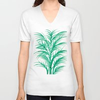 palms V-neck T-shirts featuring Mint Palms by Cat Coquillette
