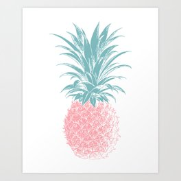 Simple Modern Boho Pineapple Drawing Art Print