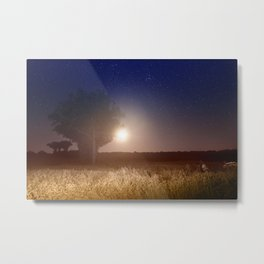Full moon rising with stars landscape Metal Print