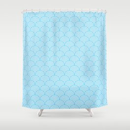 Light Blue Concentric Circle Pattern Shower Curtain