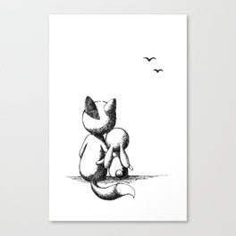 Fox and a rabbit Canvas Print