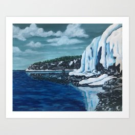 Ice formations at the shore Art Print