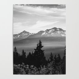 Morning in the Mountains Black and White Poster
