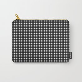 Classic Rockabilly Gingham in Black + White Carry-All Pouch