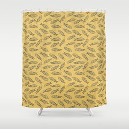 Fishes on Gold Water. Mediterranean Sea Pattern Collection Shower Curtain