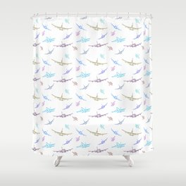 Pastel Airplanes Shower Curtain