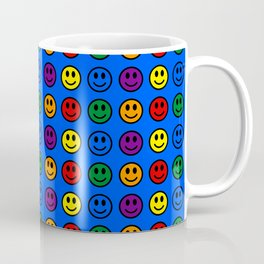 Blue Smiley Faces Pride Rainbow Colors Coffee Mug