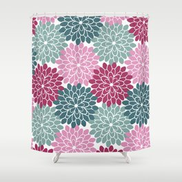 Petals in Rose, Maroon and Light and Dark Cyan Shower Curtain